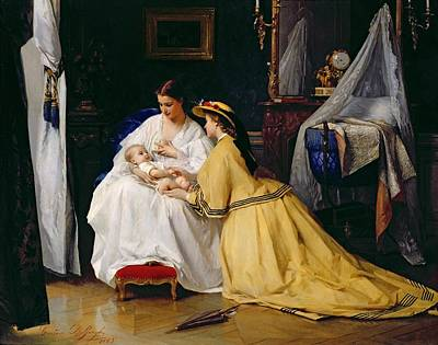 Breastfeeding Painting - First Born by Gustave Leonard de Jonghe