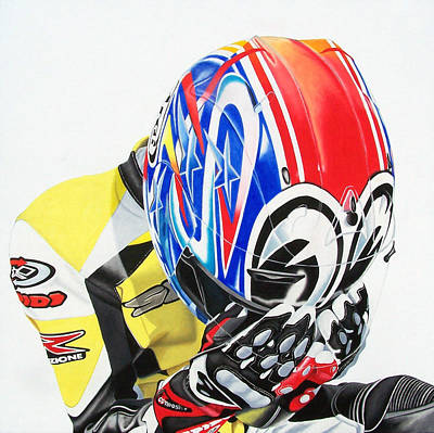 Motorcycle Wall Art - Painting - First Breath From Coma by Ian Hemingway