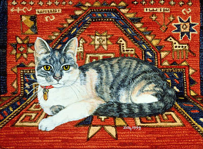 Persian Carpet Painting - First Carpet Cat Patch by Ditz