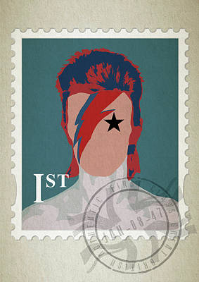 First Edition Digital Art - First Class Bowie - Blue by Big Fat Arts
