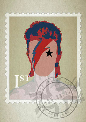 First Edition Digital Art - First Class Bowie - Cream by Big Fat Arts