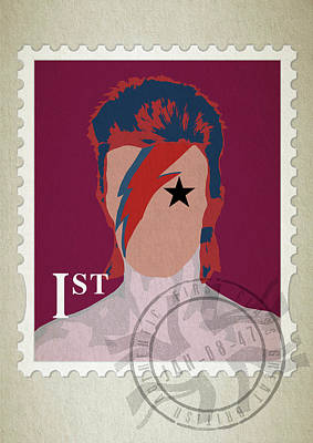 First Edition Digital Art - First Class Bowie - Red by Big Fat Arts