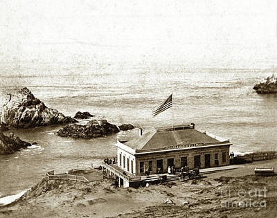 Photograph - First Cliff House  View Of Ropes From The Cliff House To Seal Rock Circa 1865 by California Views Archives Mr Pat Hathaway Archives
