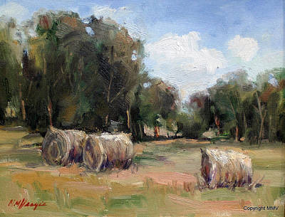 Haybales Painting - First Cut by Mary Veazie