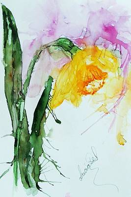 Watercolour Painting - First Daff Of The Season by Lucia Del