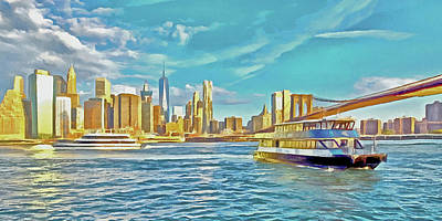 Digital Art - First East River Ferry Of The Day by Digital Photographic Arts