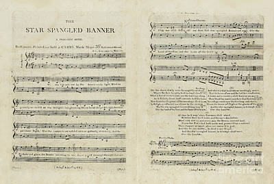 Star Spangled Banner Drawing - First Edition Of The Sheet Music For The American National Anthem by Francis Scott Key
