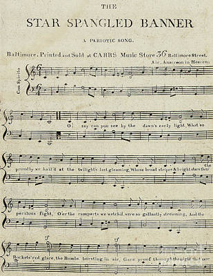 Star Spangled Banner Drawing - First Edition Of The Sheet Music For The Star Spangled Banner by American School