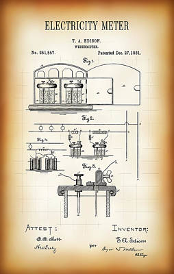 First Electricity Meter Patent 1881 Art Print by Daniel Hagerman