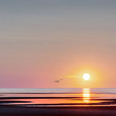 Cape Cod Sunset Photograph - First Encounter Beach Cape Cod Square by Bill Wakeley