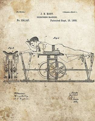 Drawing - First Exercise Machine Patent by Dan Sproul