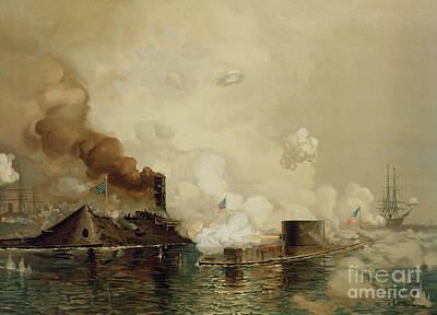 Warships Painting - First Fight Between Ironclads by Julian Oliver Davidson