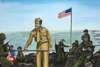 Semper Fi Painting - First Flag Raising Iwo Jima by Dean Glorso