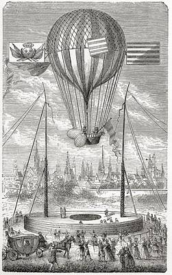 First Flight With A Dirigible Balloon Art Print by Vintage Design Pics