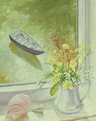 Boats In Water Painting - First Flowers And Shells by Timothy Easton