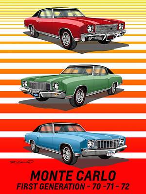 Gm Painting - First Generation Chevrolet Monte Carlo by Rudy Edwards