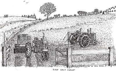 Art Print featuring the drawing First Hay Crop by Jack G  Brauer
