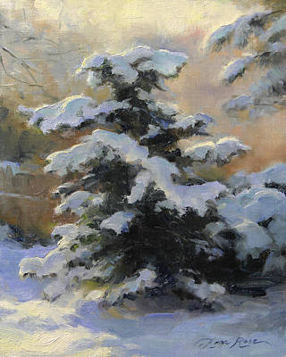 Snow Scene Painting - First Heavy Snow by Anna Rose Bain
