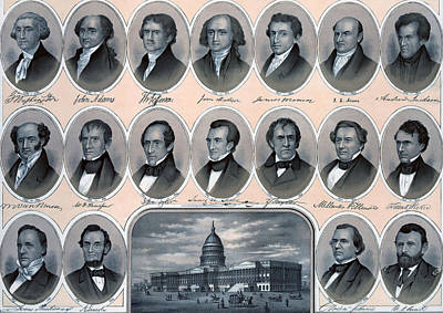 Capitol Drawing - First Hundred Years Of American Presidents by American School