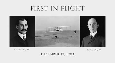 In Flight Photograph - First In Flight - The Wright Brothers by War Is Hell Store