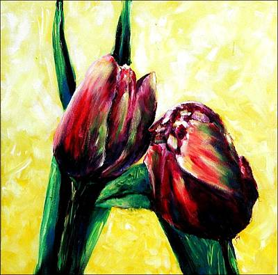 Painting - First Kiss Tulips by Jai Johnson