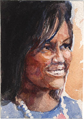 Michelle Obama Painting - First Lady In Blue by Nancy Watson