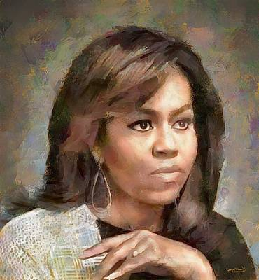 Painting - First Lady Michelle Obama by Wayne Pascall