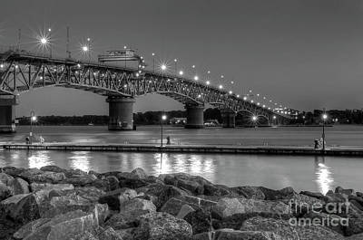 Photograph - First Light At Coleman Bridge Yorktown Virginia Black And White by Karen Jorstad
