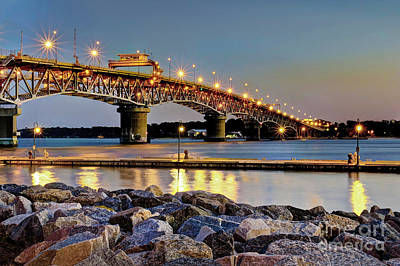 Photograph - First Light At Coleman Bridge Yorktown Virginia by Karen Jorstad
