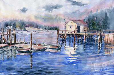 Painting - The First Light Of Dawn At Port Clyde Maine by Melly Terpening