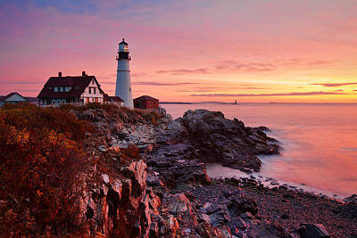 First Light At Portland Head Art Print by Eric Gendron