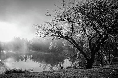 Photograph - First Light Fog - Black And White by Susan McMenamin