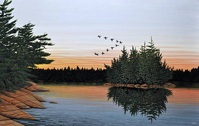 Canadian Geese Painting - First Light by Kenneth M  Kirsch