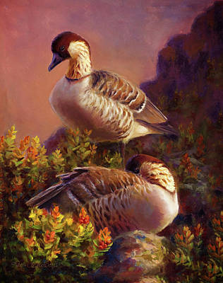 Geese Painting - First Light Nene Hawaiian Goose by Karen Whitworth