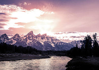 Photograph - First Light On Grand Teton Mountains by Dan Sproul