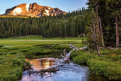 Photograph - First Light On Lassen From Upper Meadow by John Hight