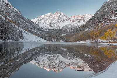 Photograph - First Light On Maroon Bells by Jemmy Archer