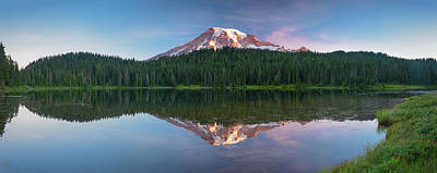 Photograph - First Light On Mount Rainier - Panorama by Michael Blanchette