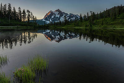 Design In Nature Photograph - First Light On Picture Lake by Jon Glaser