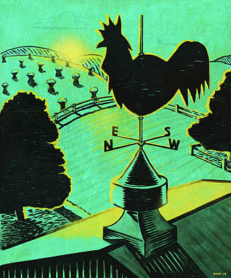 Weathervane Painting - First Light On The Farm by Little Bunny Sunshine