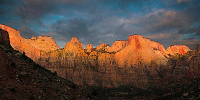 First Light On The Towers - Zion N.p.  Art Print by Thomas Schoeller