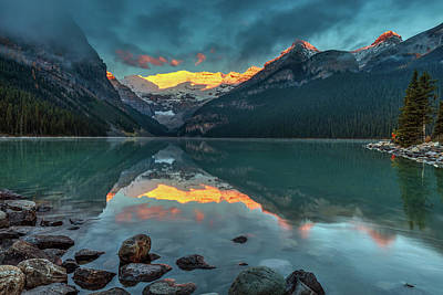 Photograph - First Light On Victoria Glacier by Pierre Leclerc Photography