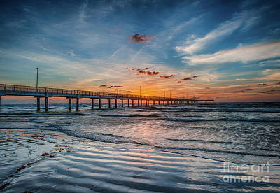 Sand Photograph - First Light Over The Pier by Tod and Cynthia Grubbs
