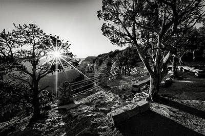 Photograph - First Light Over Yavapai Black And White by Eduard Moldoveanu