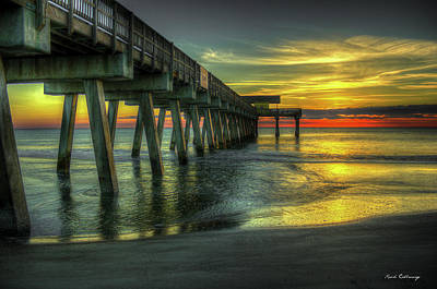 Photograph - First Light Tybee Island Pier Seascape Art by Reid Callaway