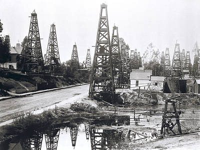 Oil Drilling Photograph - First Los Angeles Residential Oil Field C. 1895 by Daniel Hagerman