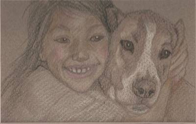 Girl And Dog Drawing - First Love by Jane Hanson