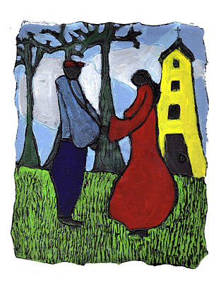 African American. Folk Art Painting - First Love by Wayne Potrafka