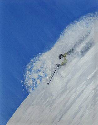 Skiing Action Painting - First by Michael Cuozzo
