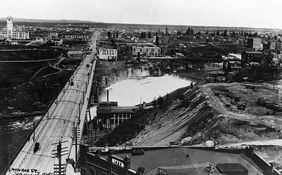 First Monroe Street Bridge - Spokane Falls 1895 Art Print by Daniel Hagerman